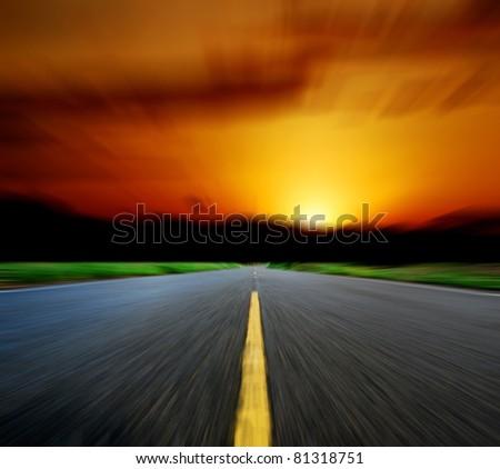 way sunset road sky speed destination sun drive motion blur light