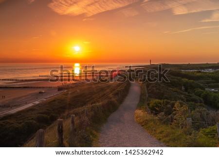 Way through the dunes on sunset #1425362942
