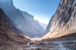 Way to Annapurna base camp, Annapurna Sanctaury Trekking route,Himalaya Mountain landscape,Nepal