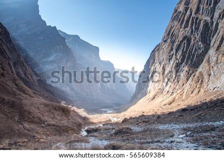 Way to Annapurna base camp, Annapurna Sanctaury Trekking route,Himalaya Mountain landscape,Nepal #565609384