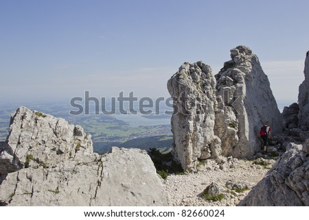 way to the mountain kampenwand in upper bavaria - stock photo