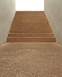 Way up stairs made for pebble stones floor.