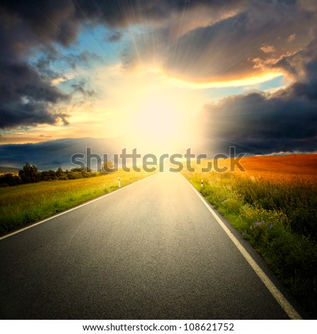 Way with deep blue sky and sundown. Nature background.