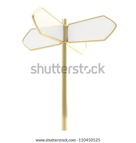 Waymark direction copyspace signpost road sign to the four sides as white plates with golden edging isolated on white