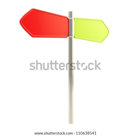 Waymark direction copyspace signpost road sign to the two sides red back and green forward isolated on white