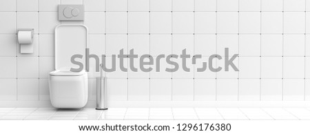WC, restroom. White toilet bowl and accessories on tiled wall and floor background, banner, copy space. 3d illustration