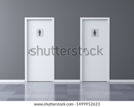 WC toilet doors for boys and girls - Female and Male toilet doors. 3d rendering