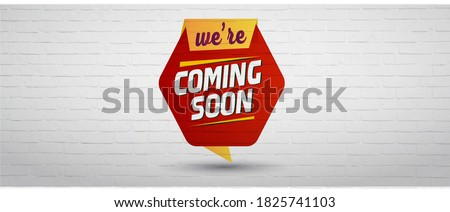 We are coming soon facebook and social media cover banner written on a red shape with white bricks background. Coming soon cover banner for facebook and social media. Arriving soon cover banner