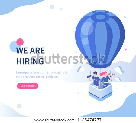 We are hiring concept with character. Can use for web banner, infographics, hero images. Flat isometric  illustration isolated on white background.