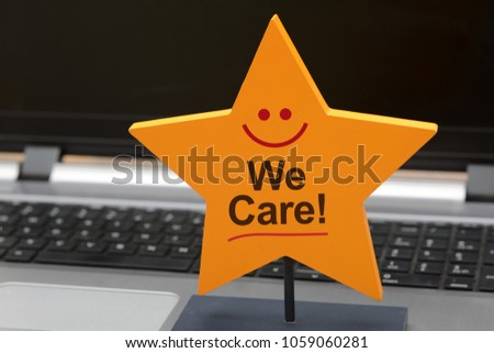 We care Customer Service 5 star sign