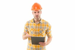 We like to build. Constructing engineer isolated on white. Build laborer or builder on site. Design and build. Construction and building. Project to build. Engineering and architecture