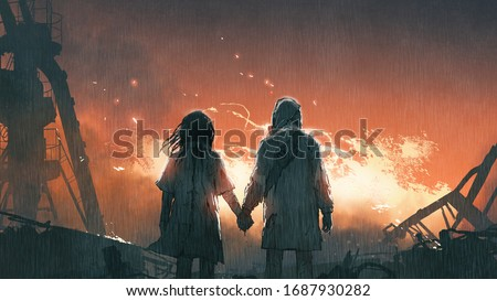We'll get through this together, lovers holding hands looking at fire flames in the rainy night, digital art style, illustration painting