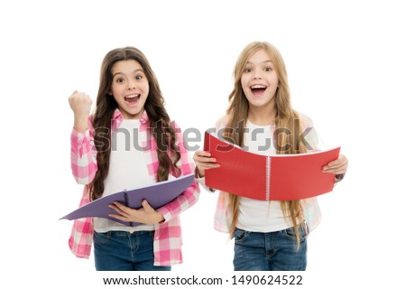 We love study. Studying is fun. Buy book for extra school course. Language courses for youth. Girls with school textbooks white background. School concept. Pupils carrying textbooks to school classes.