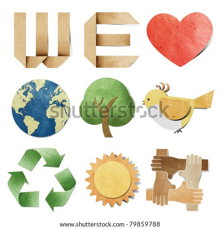 we love tag recycled paper craft stick on white backgroundData source: NASA - stock photo