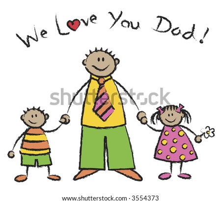 in love with you cartoons. stock photo : WE LOVE YOU DAD