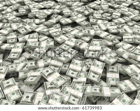 Wealth. Background from packs of dollar. 3d