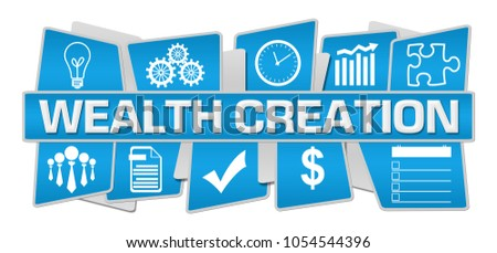Wealth creation text written over blue background.