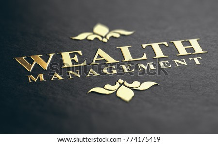 Wealth management phrase embossed design with golden foil over black paper background. 3D illustration. Financial advisory Concept