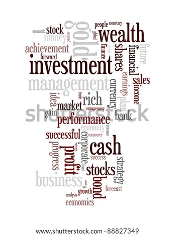 Wealth management portfolio info-text graphics and arrangement concept on white background (word clouds)