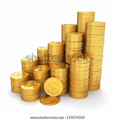 Wealth. Pyramid from gold coins on white background. 3d - stock photo