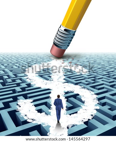 Wealth solutions as a businessman walking through a maze opened up by a pencil eraser that has erased a new path shaped as a dollar sign as a business concept of innovative thinking in money success.