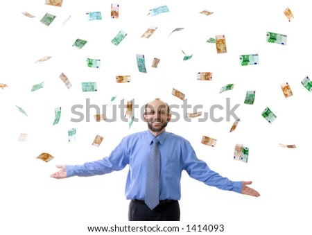 Wealthy man with lot's of euro - stock photo