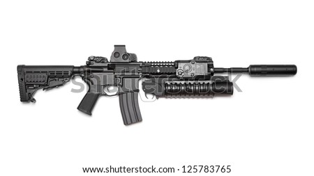 Weapon Series. AR-15 (M4A1) carbine with holographic sight, M203 grenade launcher and sound suppressor. Isolated on a white background. Right side view. Studio shot