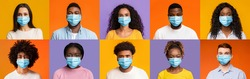 Wear mask. Collage of multiethnic people in protective face masks over colorful backgrounds, panorama. Diverse men and women wearing medical masks during quarantine, protecting themselves