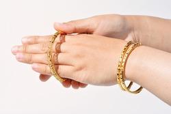 wearing the beautiful gold bracelet