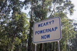 Weary? Powernap now - road sign in Victoria, Australia