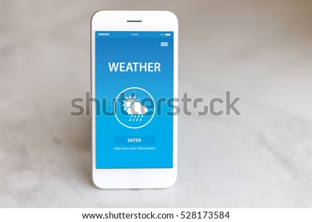 WEATHER APP CONCEPT ON SCREEN #528173584