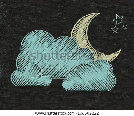 Weather collections set written on blackboard background, high resolution, easy to use
