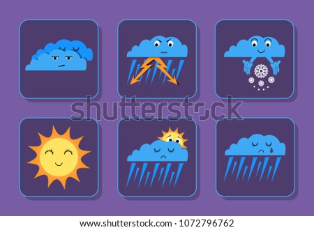 Weather emoji icons set - sunny, overcast, rain, thunderstorm and snowing sad and happy icons