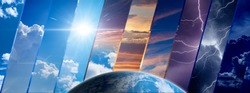 Weather forecast background, climate change concept, collage of sky image with variety weather conditions and planet Earth. Elements of this image furnished by NASA