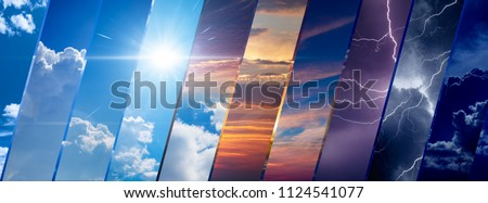 Weather forecast background, climate change concept, collage of sky image with variety weather conditions - bright sun and blue sky, dark stormy sky with lightnings, sunset and night #1124541077