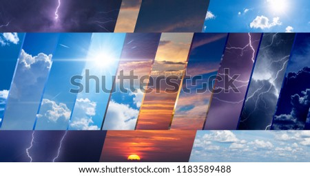 Weather forecast background, climate change concept, collage of sky photos with variety weather conditions - bright sun and blue sky, dark stormy sky with lightnings, sunset and night #1183589488
