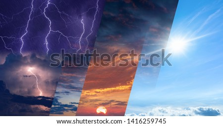 Weather forecast concept, climate change background, collage of sky image with variety weather conditions - bright sun and blue sky, dark stormy sky with lightnings, glowing sunset Foto stock ©