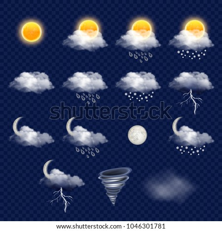 Weather forecast icon set with cloud, sun, snowflakes, raindrops, lightning etc. realistic illustration on transparent background.