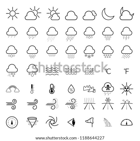 Weather forecast line icons set