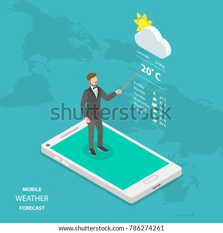 Weather forecast online flat isometric concept. Weatherman is standing on the smartphone reporting about the weather.
