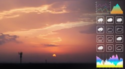 Weather forecast symbol data for meteorology presentation with graph and chart on dramatic atmosphere panorama view of colorful twilight tropical sky and  clouds aerial summer view background.
