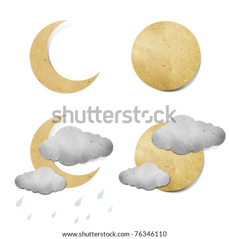 Weather grunge recycled paper craft stick on white background - stock photo
