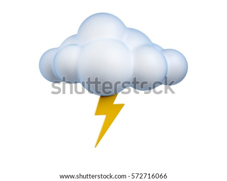 Weather icon Lightning 3d rendering