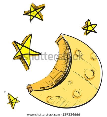 Moon and Stars Drawing