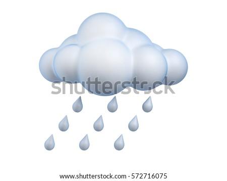 Weather icon Rain 3d rendering