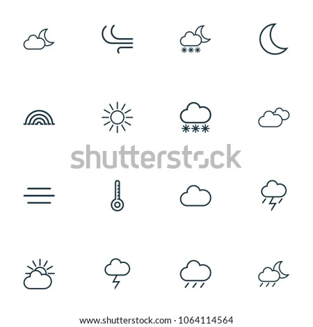 Weather icons line style set with rainfall, overcast, drizzle and other wind elements. Isolated  illustration weather icons.