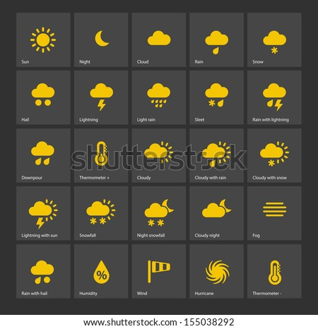 Weather icons. See also vector version.