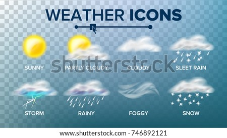 Weather Icons Set. Sunny, Cloudy Storm, Rainy, Snow, Foggy. Good For Web, Mobile App.