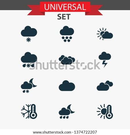 Weather icons set with sunshine, clouds, overcast and other lightning elements. Isolated  illustration weather icons.