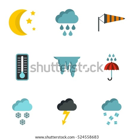 Weather outside icons set. Flat illustration of 9 weather outside  icons for web